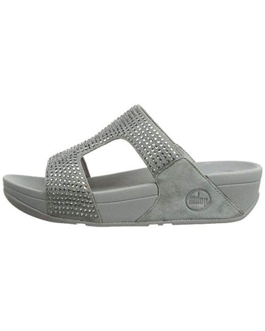 d15d853a833e0d Lyst - Fitflop Rokkit Slide Wedge Heels Sandals in Metallic - Save 59%