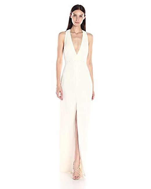 Halston Heritage - White Sl V Neck Gown W Back Trapezoid Ring Hardware - Lyst