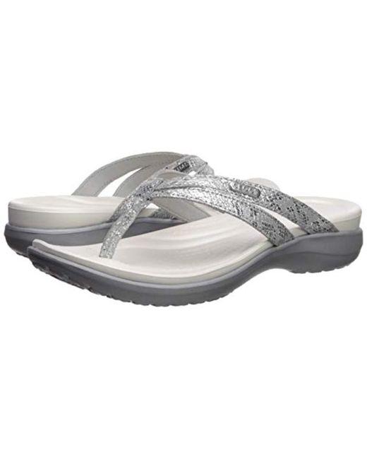 6b65da6f9e1 Crocs™ Capri Strappy Flip Flop in Metallic - Save 13% - Lyst