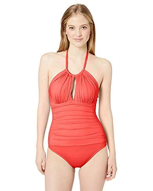 5ee7384d8d0 Kenneth Cole Reaction - Red High Neck Keyhole Halter One Piece Swimsuit -  Lyst ...