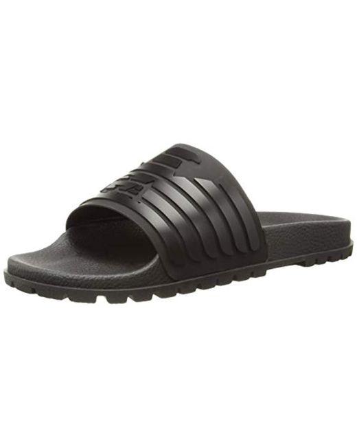 2a8806abf43 Emporio Armani - Black Open Toe Logo Sandal Slipper for Men - Lyst ...