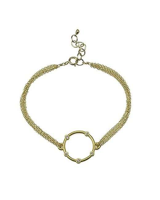 """Dogeared - Metallic Small Halo With Crystals On Chain Bracelet, 6""""+1"""" Extender - Lyst"""