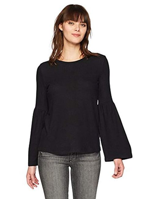 5881e438545 Michael Stars - Black Madison Brushed Jersey Open Neck Bell Sleeve Top -  Lyst ...