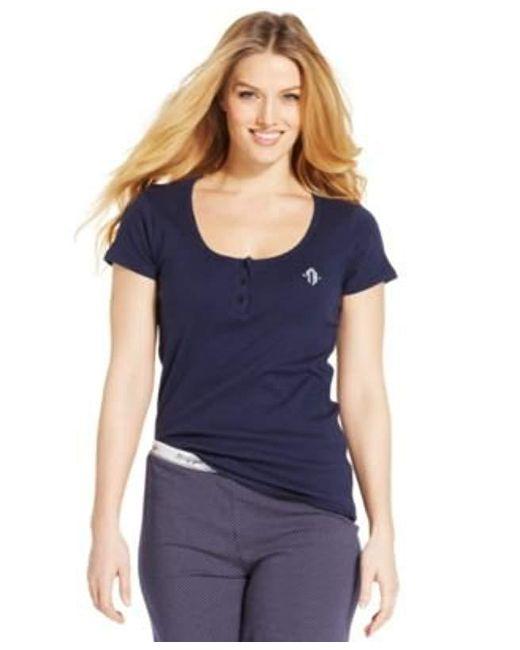 Tommy Hilfiger - Blue Short Sleeve T-shirt Pajama Top Pj - Lyst