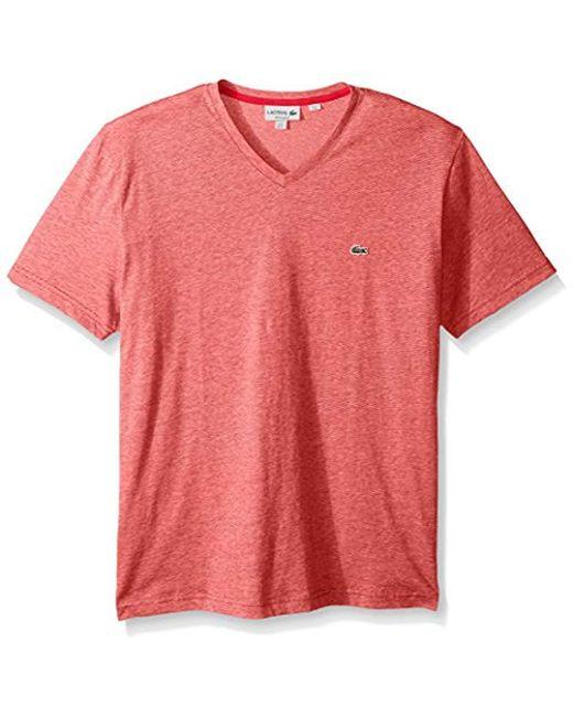 Lacoste - Red Fine Stripe Short Sleeve T-shirt, Th6810 for Men - Lyst