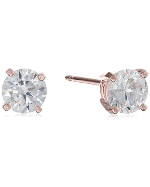 Amazon Essentials - Metallic Plated Sterling Silver Cubic Zirconia Stud Earrings (round & Princess) - Lyst