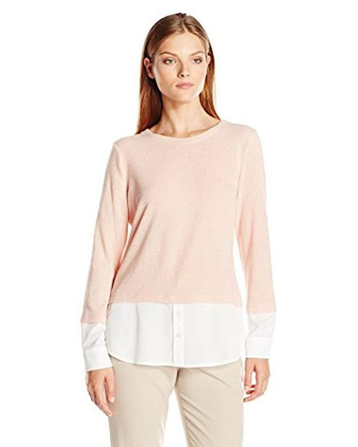 Calvin Klein - Pink Thermal Two-fer Top With Shirting Detail - Lyst