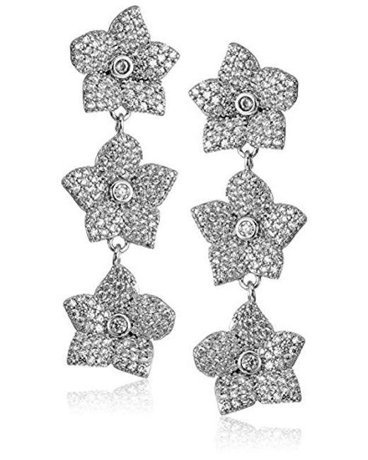 Kate Spade - Metallic S Pave Bloom Linear Drop Earrings, Clear/silver - Lyst