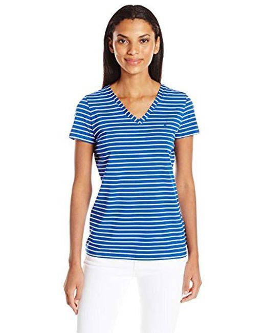 Nautica - Blue Short Sleeve Stretch V Neck Stripe Tshirt - Lyst