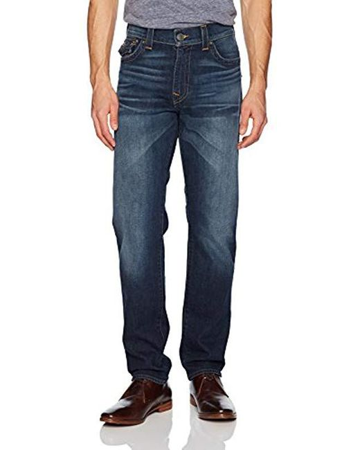 True Religion - Blue Geno Slim Straight Jeans And Back Flap Pockets for Men - Lyst