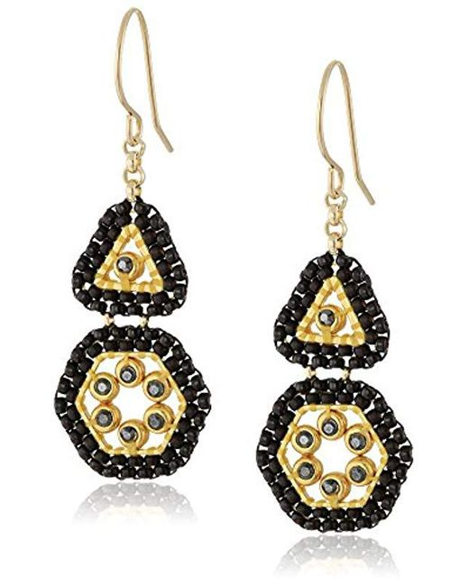 Miguel Ases - Black Triangle And Hexagon Swarovski Mini Duo Drop Earrings - Lyst