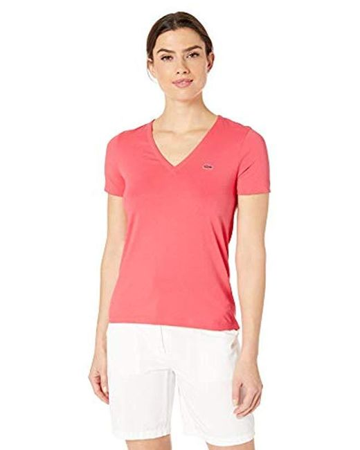 a5487eeca Lacoste - Pink Short Sleeve Classic Supple Jersey V-neck T-shirt (calypso  ...