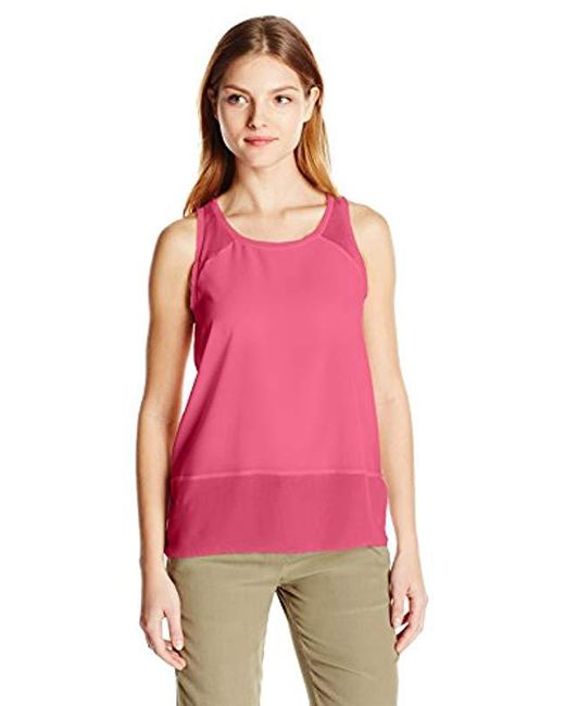 French Connection - Pink Polly Plains Raw Edge Tank Top - Lyst