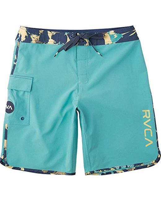 RVCA - Blue Scalloped Swim Trunks for Men - Lyst