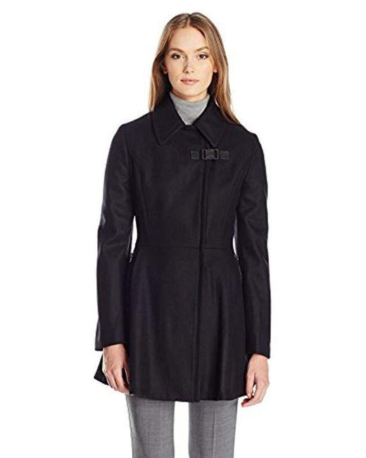 Calvin Klein - Black Asymmetrical W/zip Closure And Zipper Pocket Wool And Waist Detail - Lyst