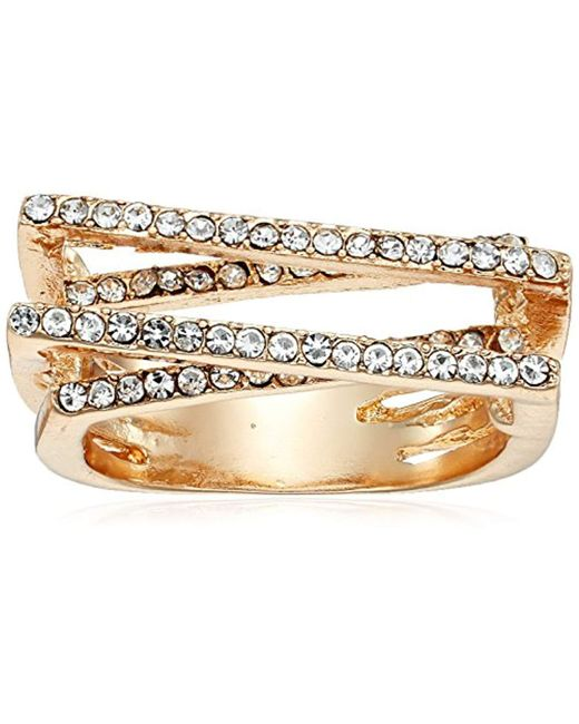 Guess - Metallic S Pave Bars Ring - Lyst