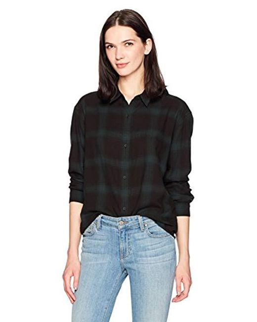 Calvin Klein Black Jeans Long Sleeve Shadow Plaid Cozy Hi-low Button Down Shirt