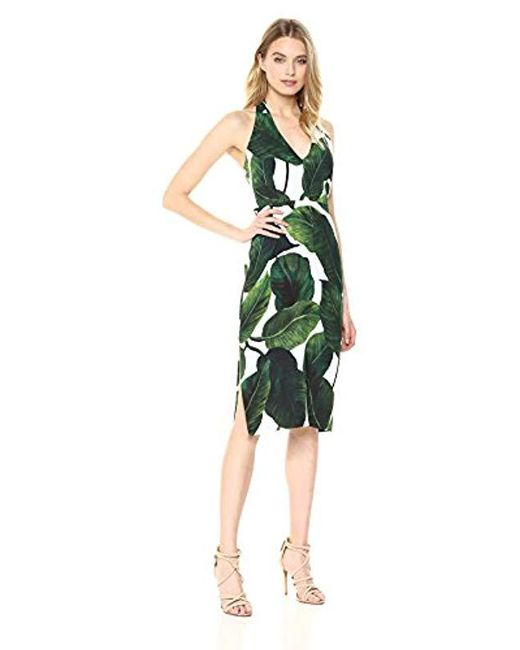 MILLY - Green Large Banana Leaf Print On Cady Vanessa Dress - Lyst