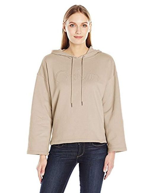 Calvin Klein - Natural Jeans Cropped Logo Hoodie - Lyst