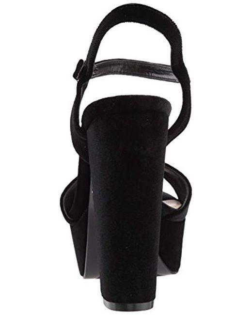 d30ade63b5f4 Lyst - Nine West Carnation Fabric Heeled Sandal in Black - Save 38%