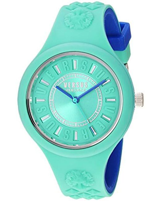 Versus  - Blue 'fire Island Bicolor' Quartz Stainless Steel And Silicone Watch, Color:two Tone (model: Vspoq2718) - Lyst