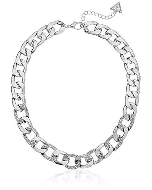 """Guess - Metallic S Chain Link Necklace With Pave Accents 16"""" With 2"""" Extender - Lyst"""