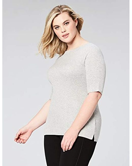 5af4ff9bd8 ... Daily Ritual - Gray Plus Size Rib Knit Jersey Elbow-sleeve Boat Neck  Shirt ...