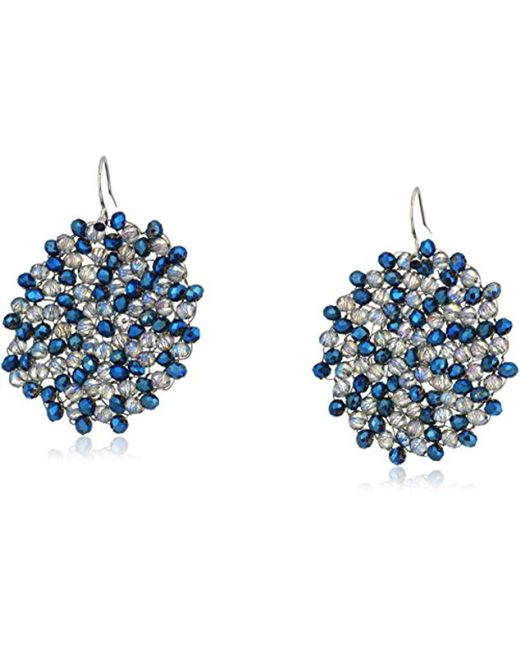 "Kenneth Cole - ""shiny Silver Items"" Silver And Blue Tonal Beaded Woven Drop Earrings - Lyst"