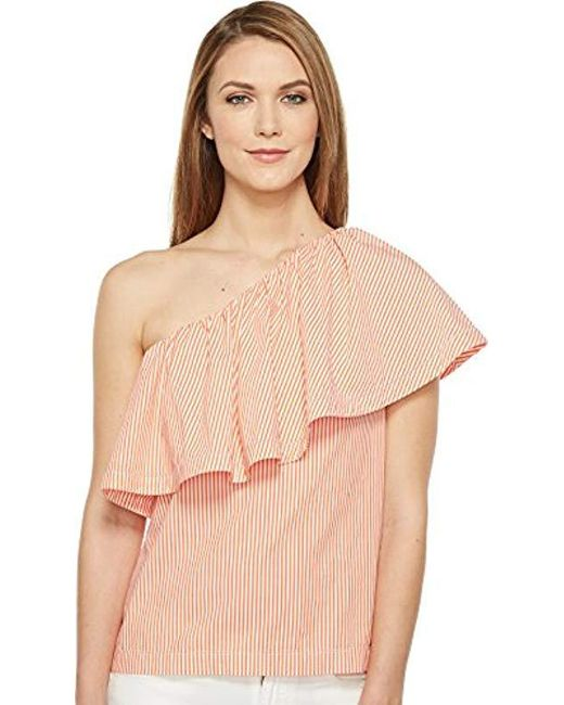 Trina Turk - Natural Mayreau Ruffle Shirting One Shoulder Top - Lyst