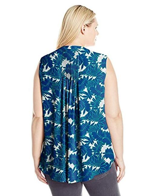 b30b047e768 Lyst - NYDJ Plus Size Sleeveless Pintuck Blouse in Blue - Save 48%