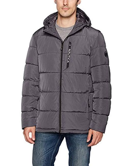 Nautica - Gray Quilted Hooded Parka Jacket for Men - Lyst