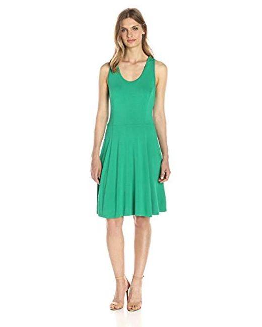 Lark & Ro - Green Sleeveless Knit Dress - Lyst