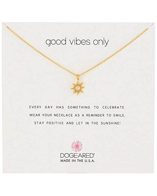 """Dogeared - Metallic Good Vibes Only Sun Pendant Necklace, 16"""" - Lyst"""