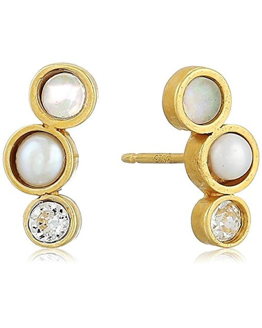 Dogeared - Metallic Playing By Ear Two Hole Lip Card Trio-opalescence, Pearl Crystal Stud Earrings, Gold - Lyst