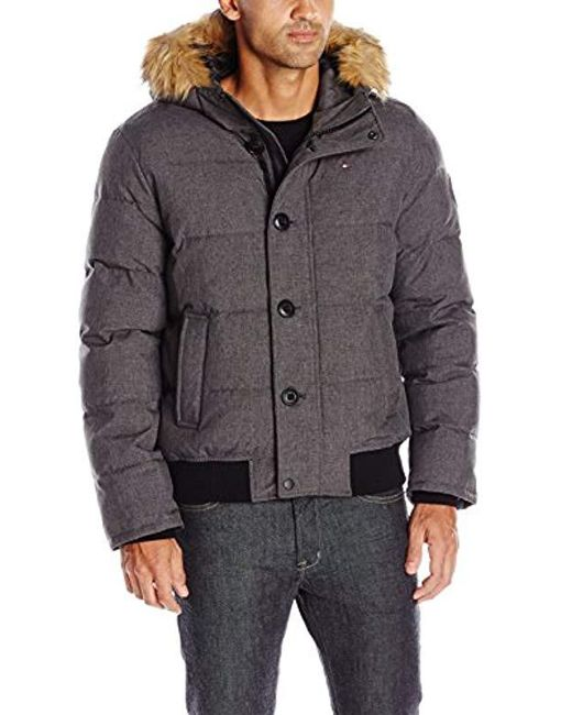 Tommy Hilfiger - Gray Arctic Cloth Quilted Snorkel Bomber Jacket With Removable Faux Fur Trimmed Hood for Men - Lyst
