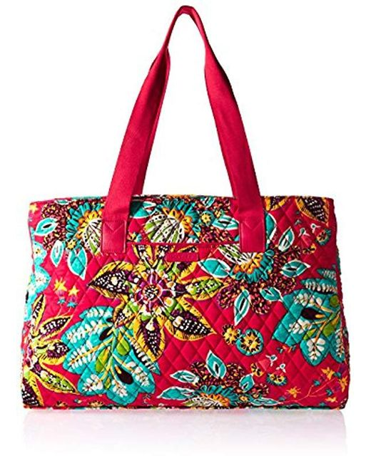 Vera Bradley - Red Triple Compartment Travel Bag, Signature Cotton - Lyst