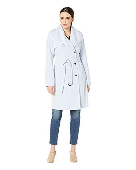 Calvin Klein - Blue Belted Wrap Trenchcoat - Lyst