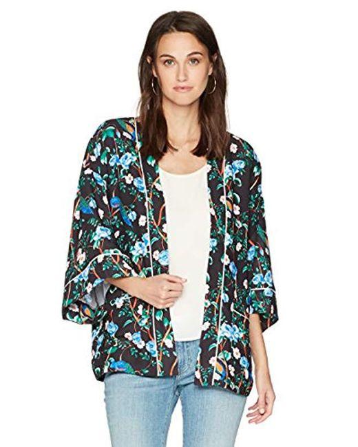 Ella Moon - Blue Lorna Kimono Jacket With Piping Detail - Lyst