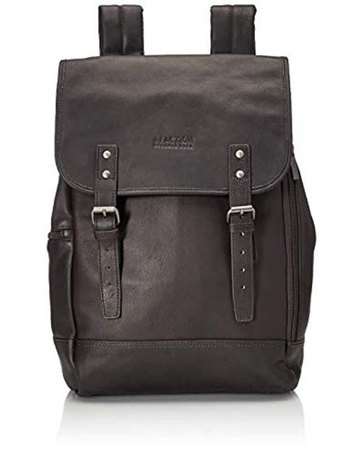28044b6df Kenneth Cole Reaction - Brown Colombian Leather Single Gusset Flapover  Computer Backpack, ...