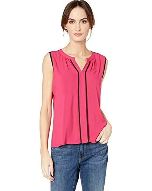 52512e82bc95c Calvin Klein - Pink Sleeveless V-neck Piped Top - Lyst ...