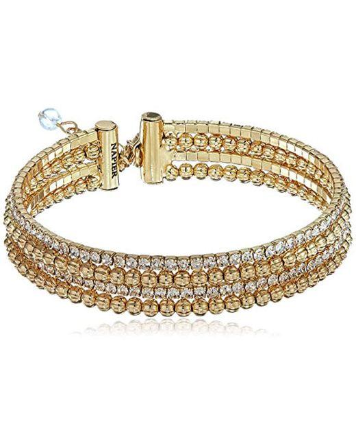 Napier - Metallic Gold Tone Crystal Coil Flex Bracelet, Gold - Lyst