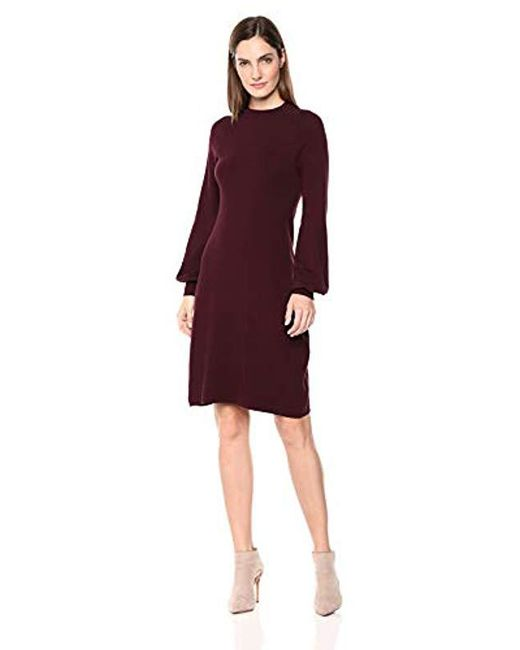 Lark   Ro - Red Mock Neck Fit And Flare Sweater Dress With Bell Sleeves ... 6c568827b