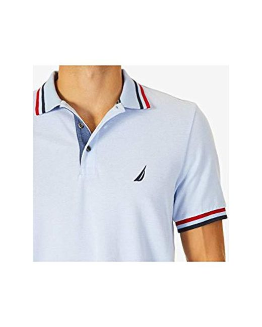 cc2e8904ba284 ... Nautica - Blue Short Sleeve Performance Pique Polo With Tipping for Men  - Lyst