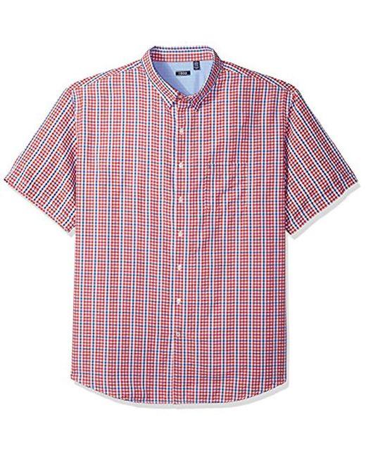 18fa880d8ba Izod - Red Breeze Plaid Short Sleeve Shirt (big   Tall And Tall Slim) ...