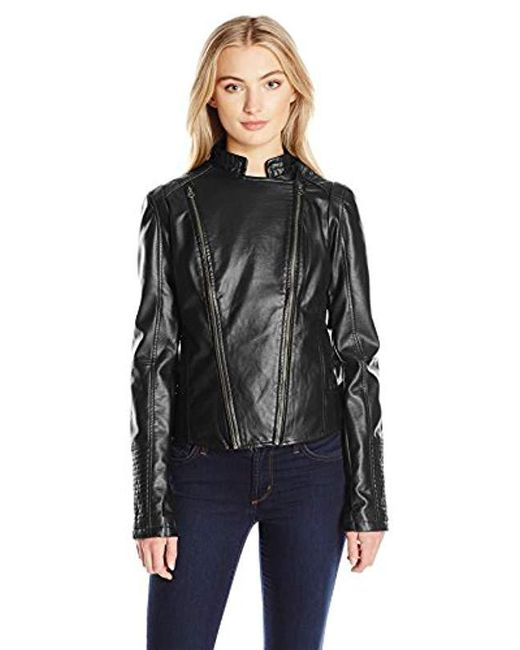 Members Only - Black Faux Leather Two Zipper Racer Jacket - Lyst