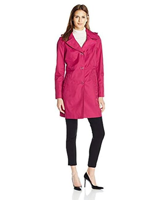 """Anne Klein - Pink 34"""" Mid Length A-line Single Breasted Raincoat - Lyst"""