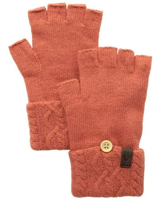 True Religion - Orange Cable Knit Fingerless Glove - Lyst