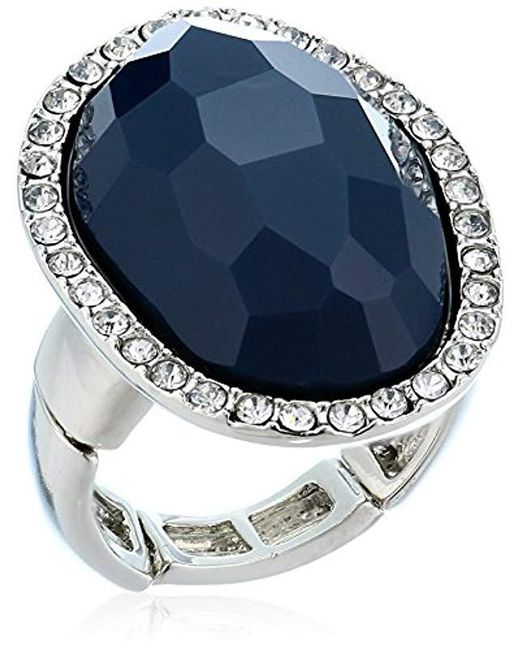 T Tahari - Metallic Mystic Sands Framed Large Stone Cocktail Ring, Silver, Expandable - Lyst