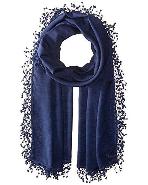 La Fiorentina - Blue Wool-silk Blend Scarf With Lace Pom Fringe - Lyst
