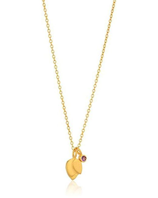 Satya Jewelry - Purple Lotus Petal Birthstone Pendant Necklace - Lyst